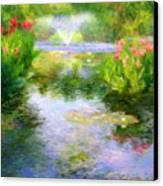 Watergarden In Monet Style Canvas Print by Crystal Garner