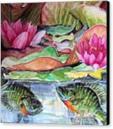 Waterlillies And Blue Giles Canvas Print