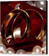 Wedding Bands And Rose Petals Canvas Print by Tracie Kaska