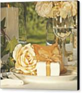 Wedding Party Favors On Plate At Reception Canvas Print by Sandra Cunningham
