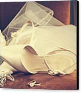 Wedding Shoes With Veil On Velvet Chair Canvas Print by Sandra Cunningham
