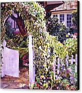 Welcome Rose Covered Gate Canvas Print