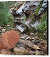 West Fork Trail River And Rock Horizontal Canvas Print