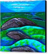 Whales In Glacier Bay  Alaska Canvas Print by Al Goldfarb