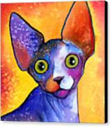 Whimsical Sphynx Cat Painting Canvas Print
