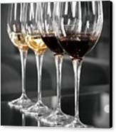 White And Red Wine Glasses Canvas Print by Edward Duckitt