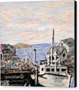 White Boat In Peggys Cove Nova Scotia Canvas Print