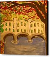 White Bridge In The Woods Canvas Print by Marie Bulger