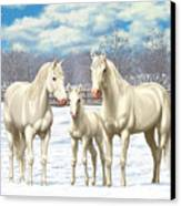 White Horses In Winter Pasture Canvas Print by Crista Forest