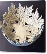 White Maple Leaf Bowl Canvas Print by Carolyn Coffey Wallace