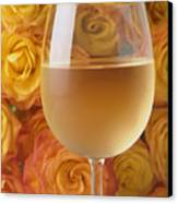 White Wine And Yellow Roses Canvas Print
