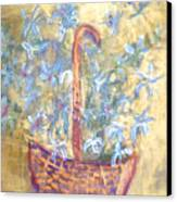 Wicker Basket Of Garden Flowers Canvas Print