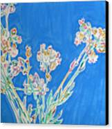 Wild Flowers On Blue Canvas Print