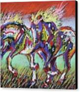 Wild Pastel Ponies Canvas Print by Louise Green