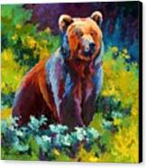 Wildflower Grizz Canvas Print by Marion Rose