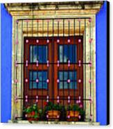 Window In Blue With Baubles Canvas Print