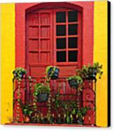 Window On Mexican House Canvas Print by Elena Elisseeva