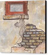 Window With Crumbling Plaster Canvas Print