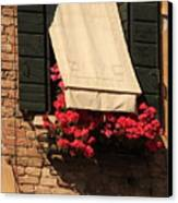 Window With Flowers In Venice Canvas Print