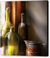 Wine - Three Bottles Canvas Print by Mike Savad