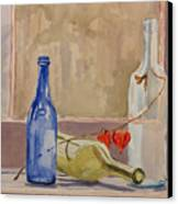 Wine Bottles On Shelf Canvas Print