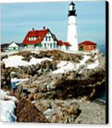 Winter At Portland Head Canvas Print by Greg Fortier