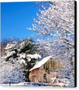 Winter Barn Scene-warren Ct Canvas Print by Thomas Schoeller