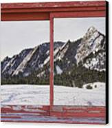 Winter Flatirons Boulder Colorado Red Barn Picture Window Frame  Canvas Print by James BO  Insogna
