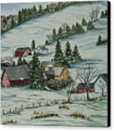 Winter In East Chatham Vermont Canvas Print by Charlotte Blanchard
