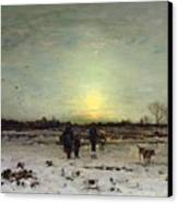 Winter Landscape At Sunset Canvas Print by Ludwig Munthe