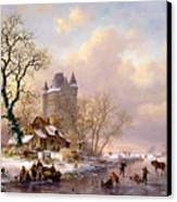 Winter Landscape With Castle Canvas Print by Frederick Marianus Kruseman