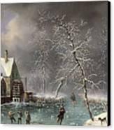 Winter Scene Canvas Print by Louis Claude Mallebranche