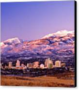 Winter Skyline Of Reno Nevada Canvas Print