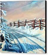 Winter Snow Tracks Canvas Print by Hanne Lore Koehler