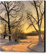 Winter Sunset Canvas Print by Jaroslaw Grudzinski