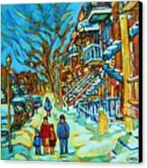 Winter  Walk In The City Canvas Print