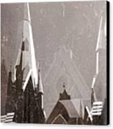 Wintry Church Canvas Print by AlyZen Moonshadow