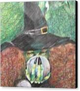 Witch In Action Canvas Print by Brigitte Hintner