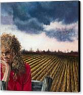 Woman By A Plowed Field Canvas Print