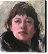 Woman In A Black Scarf Canvas Print