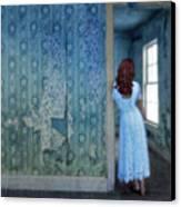 Woman In Abandoned House Canvas Print by Jill Battaglia