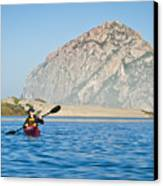 Woman Kayaking In Morro Bay Canvas Print by Bill Brennan - Printscapes
