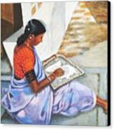 Woman Picking Rice Canvas Print