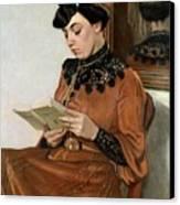 Woman Reading Canvas Print by Felix Edouard Vallotton