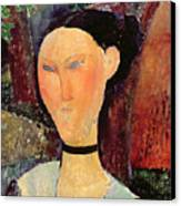 Woman With A Velvet Neckband Canvas Print by Amedeo Modigliani