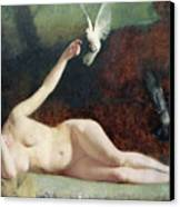 Woman With Pigeons Canvas Print by Ernst Philippe Zacharie