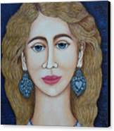 Woman With Silver Earrings Canvas Print