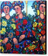 Women And Parrott Canvas Print
