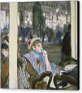 Women On A Cafe Terrace Canvas Print by Edgar Degas