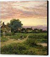 Worcestershire Cottages Canvas Print by Benjamin William Leader